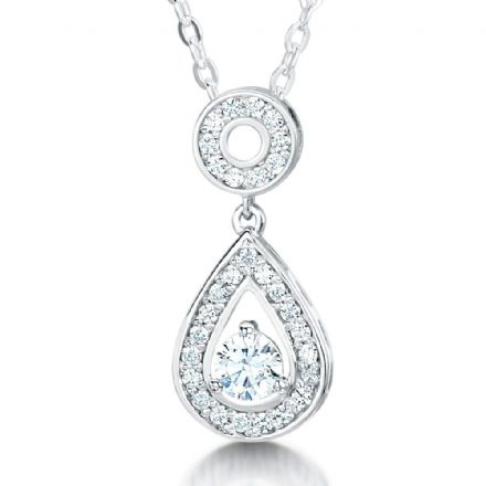 18ct White Gold  G, VS  Diamond pendant swinging stone set pear shape with round stone in centre